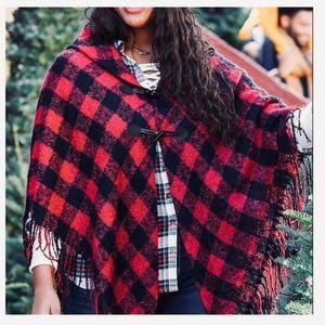 Maurices red/black buffalo plaid shawl/wrap